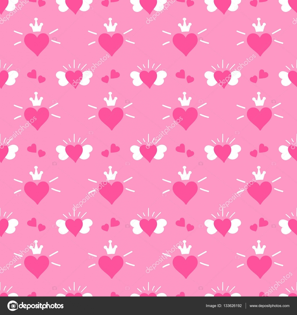 Little princess pattern vector Pink print hearts with wings and