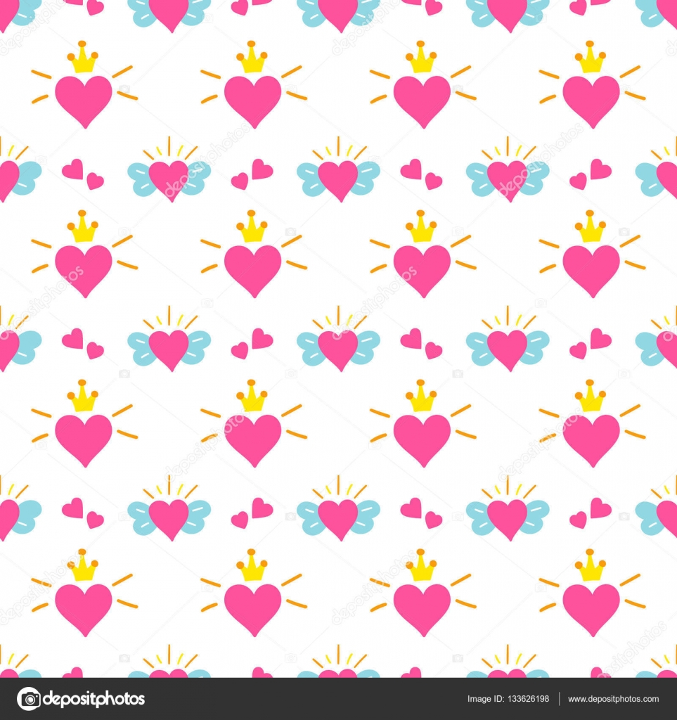 Little princess pattern vector Print hearts with wings and crown