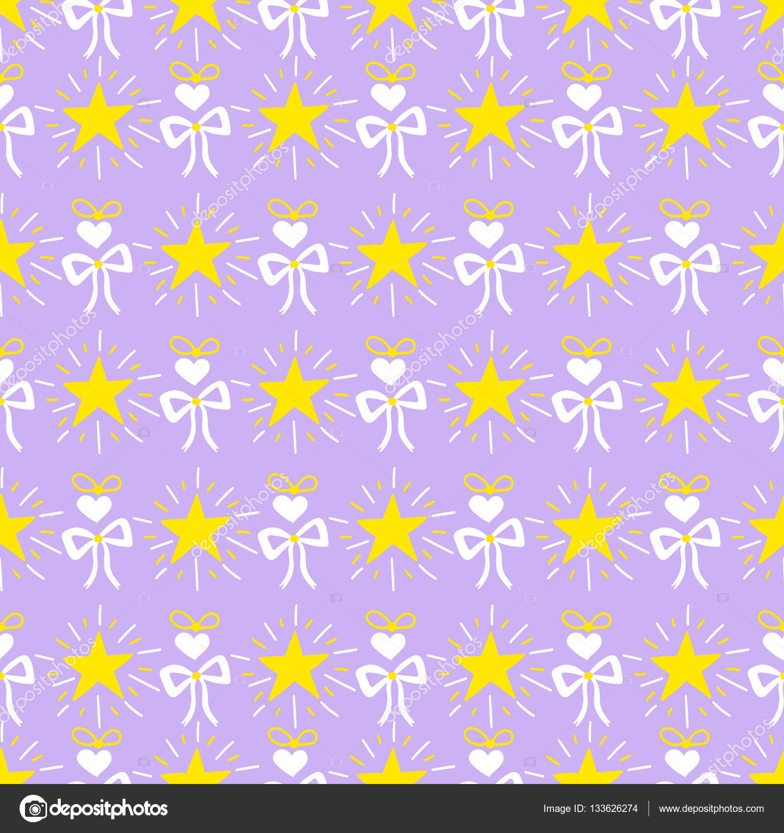 Little princess pattern vector Lilac print with stars bow and