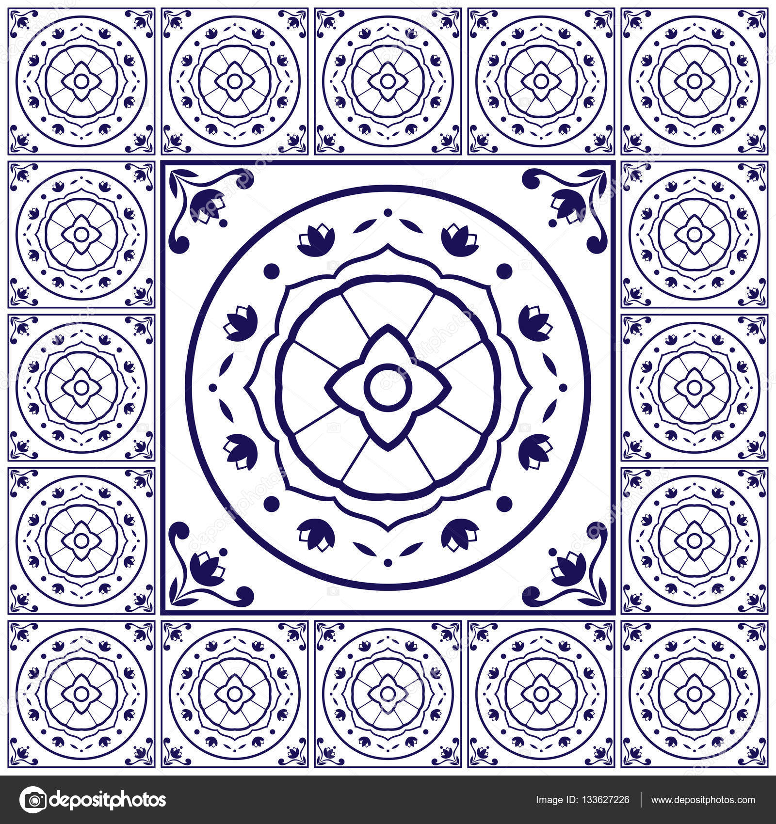 Blue white tiles floor pattern vector with ceramic cement tiles big blue white tiles floor pattern vector with ceramic cement tiles big tile in center is framed background with portuguese azulejo dutch delft dailygadgetfo Image collections