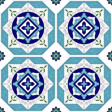 Spanish pattern from blue, green and white tiles ornaments. Portuguese azulejo, mexican, moroccan, greek or arabic motifs. Background for wallpaper, surface texture, wrapping or fabric. stock vector