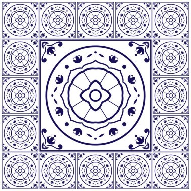 Blue white tiles floor pattern vector with ceramic cement tiles. Big tile in center is framed. Background with Portuguese azulejo, Dutch delft, Italian majolica, Mexican talavera, Spanish motifs.