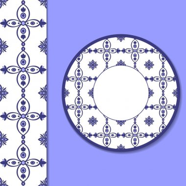 Seamless ornamental tile pattern and decorative plate for interior design. White and blue ornament saucer for cup of coffee or tea. Portuguese ornament for ceramic, home decor vector illustration.