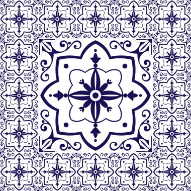 White blue tiles floor - vintage pattern vector with ceramic cement tiles. Big tile in center is framed in small. Background with portuguese azulejo, mexican talavera, spanish, delft dutch motifs.