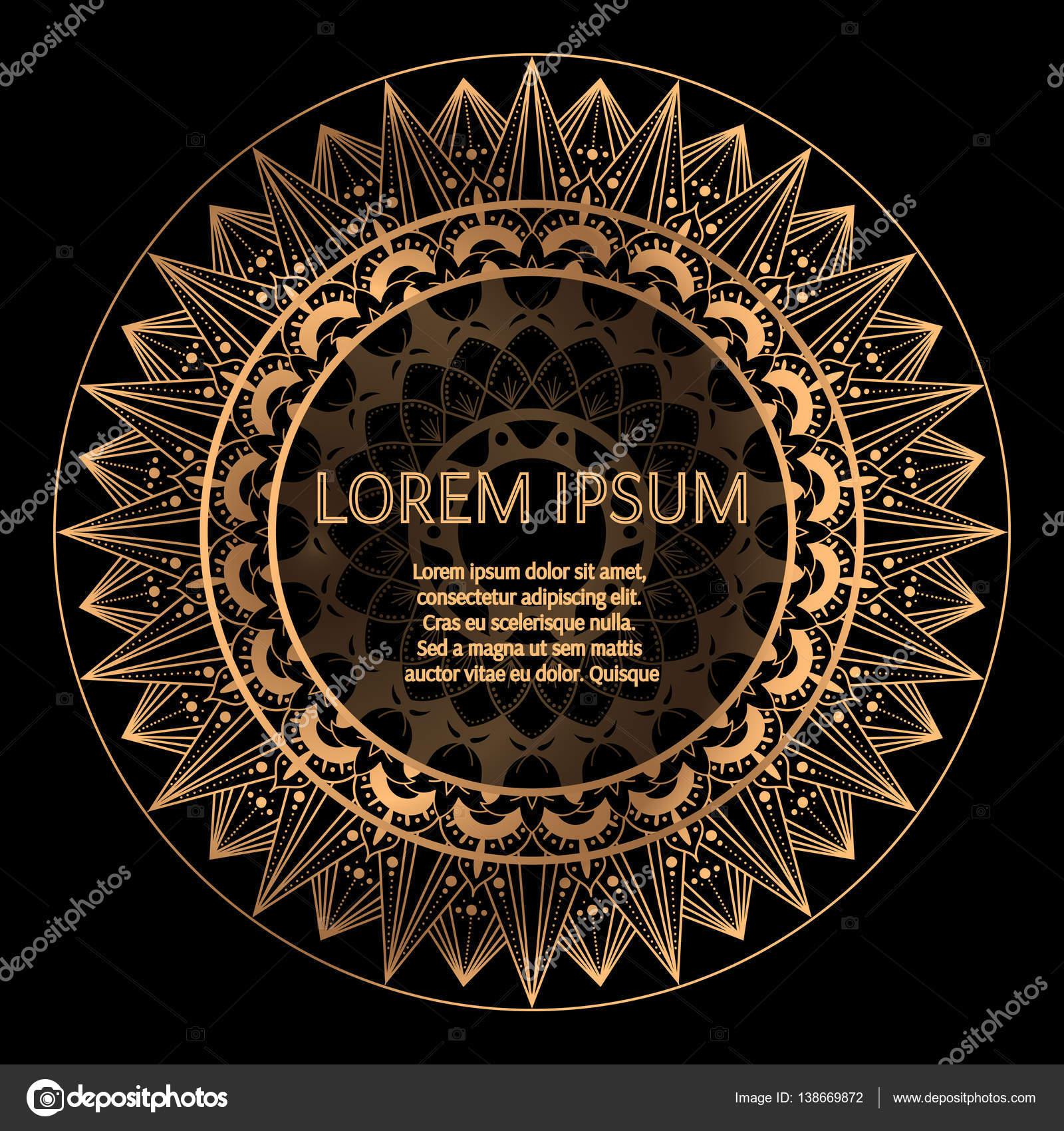 Schwarze Runde Goldrahmen Vektor. Dekorative Ornament Rahmen mit ...