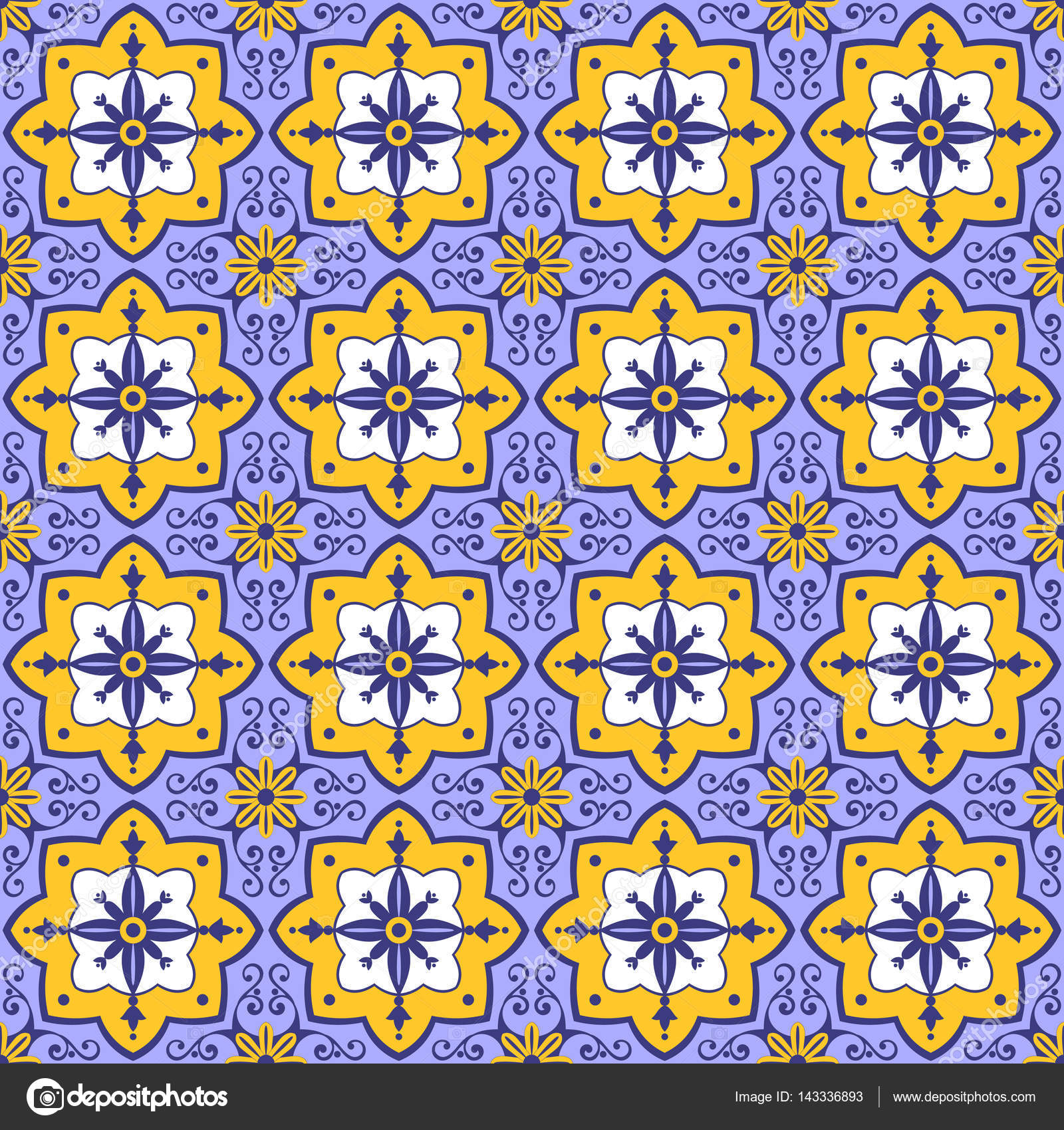 Tile pattern vector seamless with flowers motifs azulejo azulejo portuguese tiles spanish moroccan italian majolica or arabic tiles design tiled print for wrapping background or ceramic vector by irinelle dailygadgetfo Images