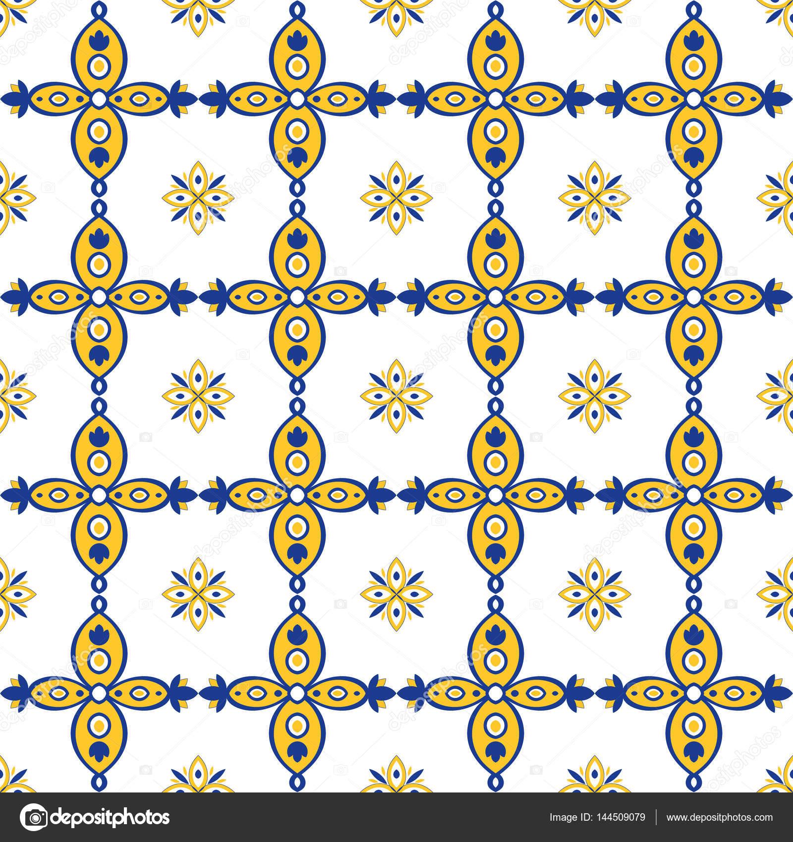 Orientalische Muster Nahtlos Blau Gelb Und Weiß Marokkanisch - Fliesen auf türkisch