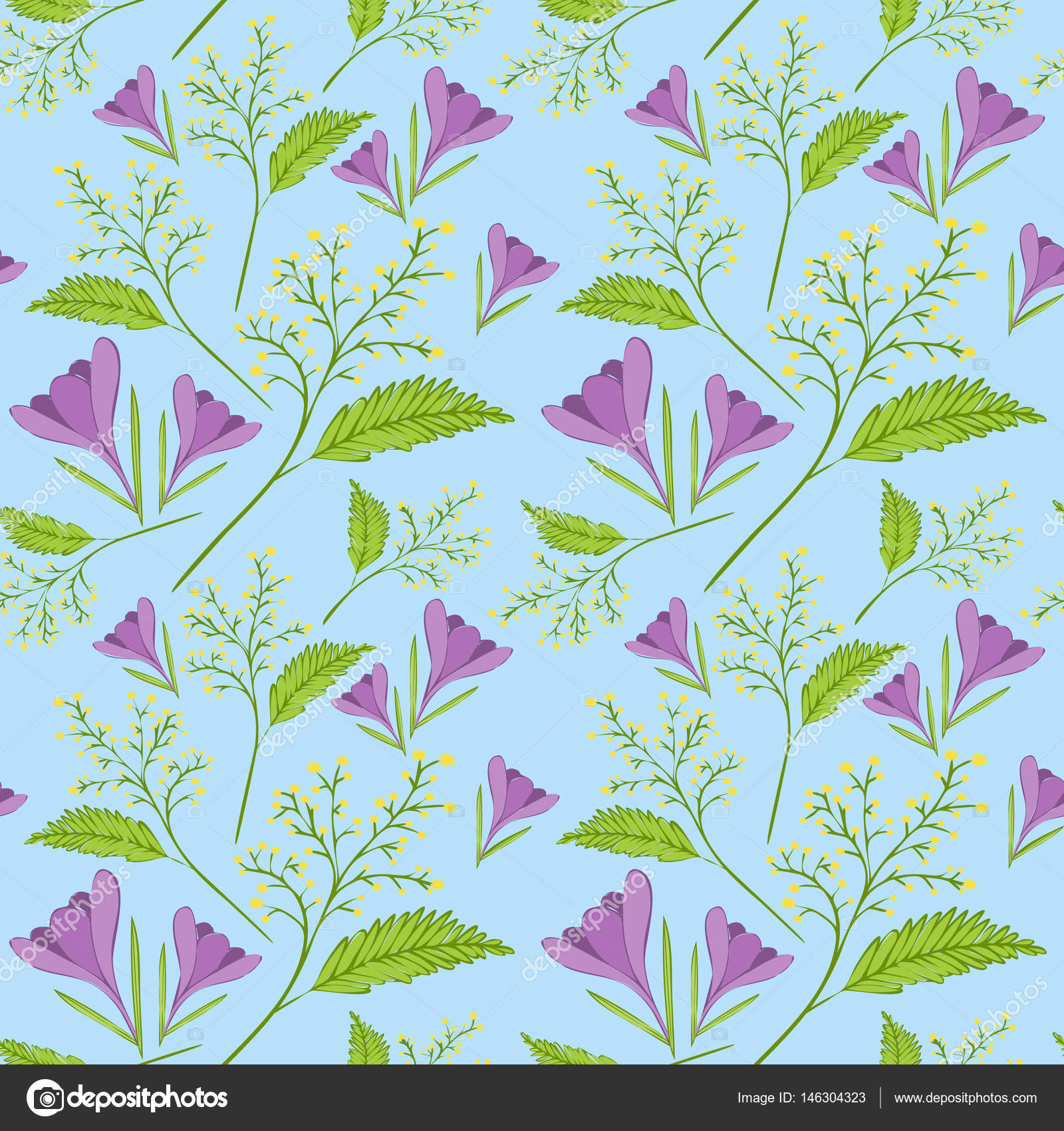 Spring flower pattern vector seamless. Spring pattern with crocus ...