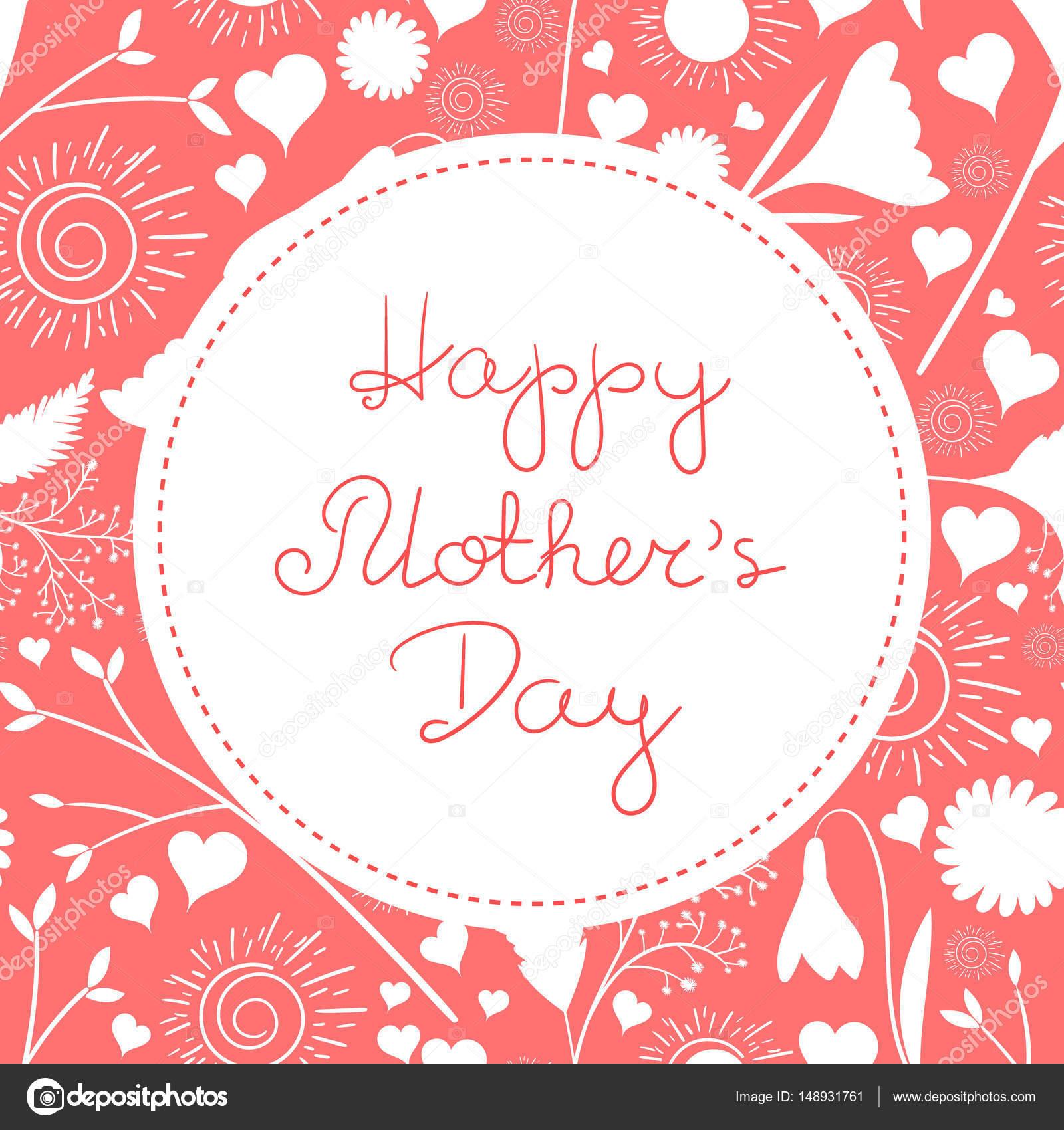 Muttertags-Grußkarte-Vektor. Glückliche Mütter Tag Hintergrund in ...