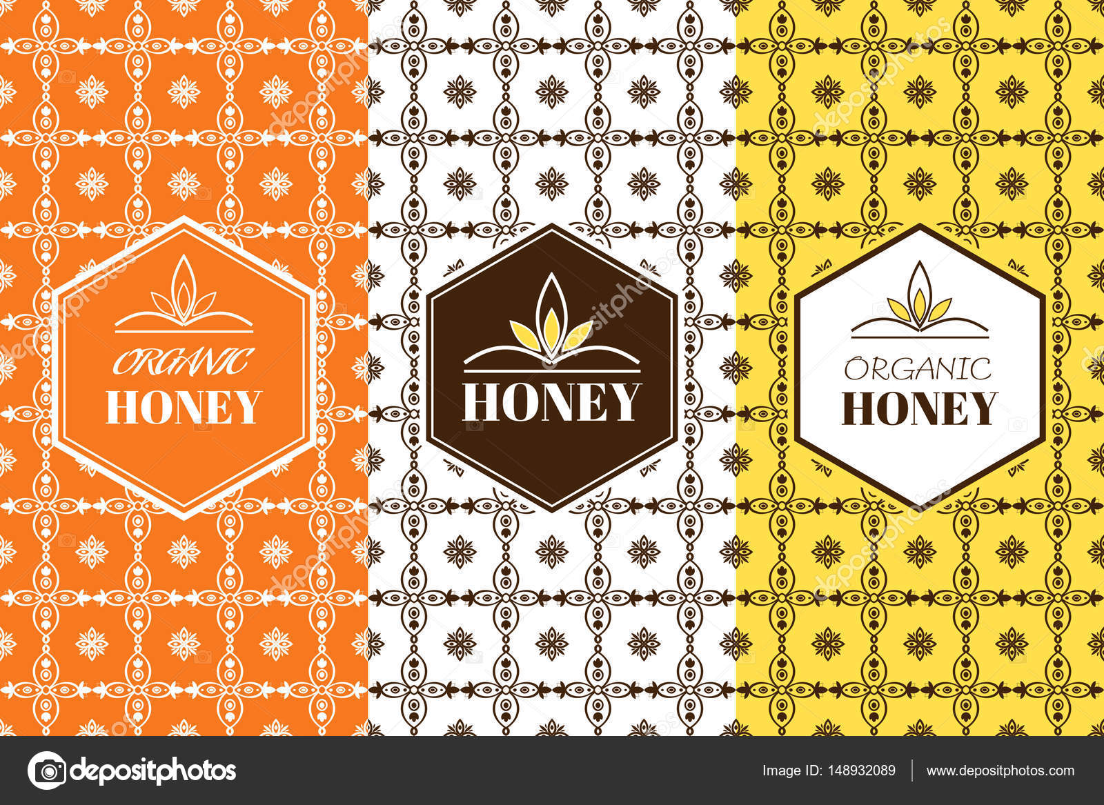 Packaging Labels Template | Vector Honey Packaging Template With Seamless Ornamental Patterns