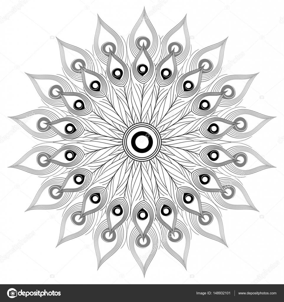Mandala Kleurplaten Pauw.Wit Zwart Mandala Vector Geisoleerd Stockvector C Irinelle 148932101