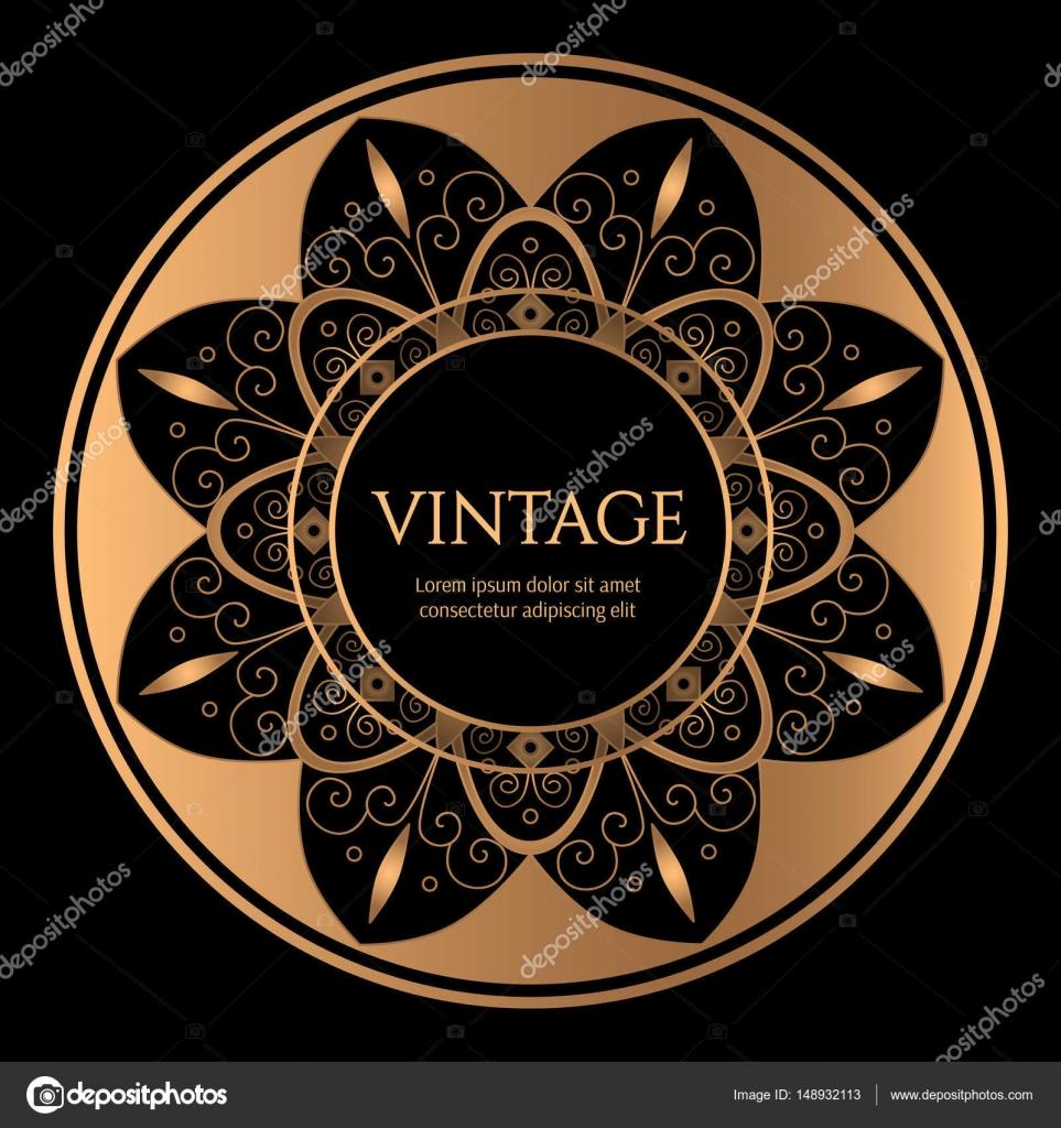 Marco redondo de oro con el vector de fondo negro. Gold diseño de ...
