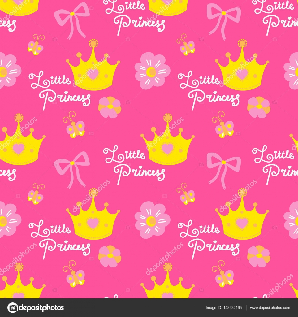 Wallpapers Pink Girl Little Princess Pattern Vector Pink Girl Background For Children Birthday Card Baby Shower Invitation Girls Wallpaper Kids Clothing Fabric Stock Vector C Irinelle 148932165