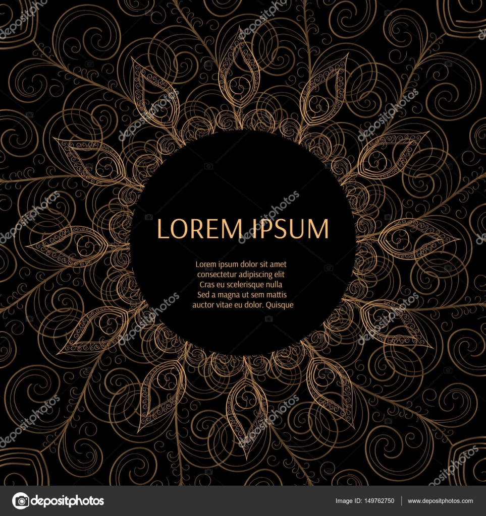Gold Black Background Design Vector Sun Indian Pattern Eye Peacock Feather Frame
