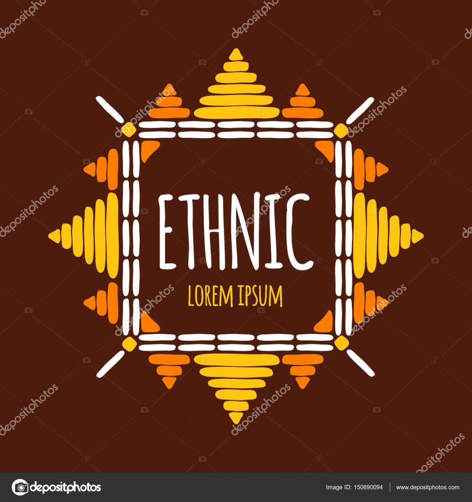 dd4919dad32e91 Unieke tribal logo sjabloon vector. Etnische hand getekende ontwerp voor  branding van boho textiel shop, badge, kleding afdrukken, stof stickers, ...