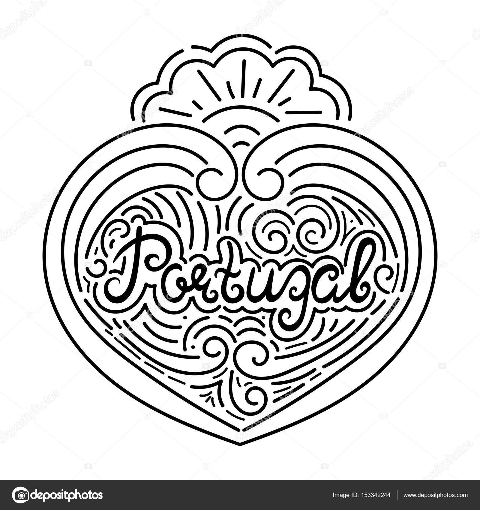 Portugal hand drawn typography black white illustration — Stock