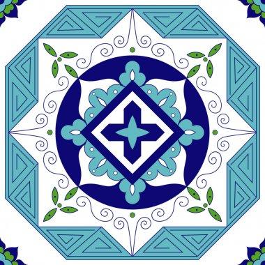 Mexican tiles pattern vector. Ornamental tile design. stock vector