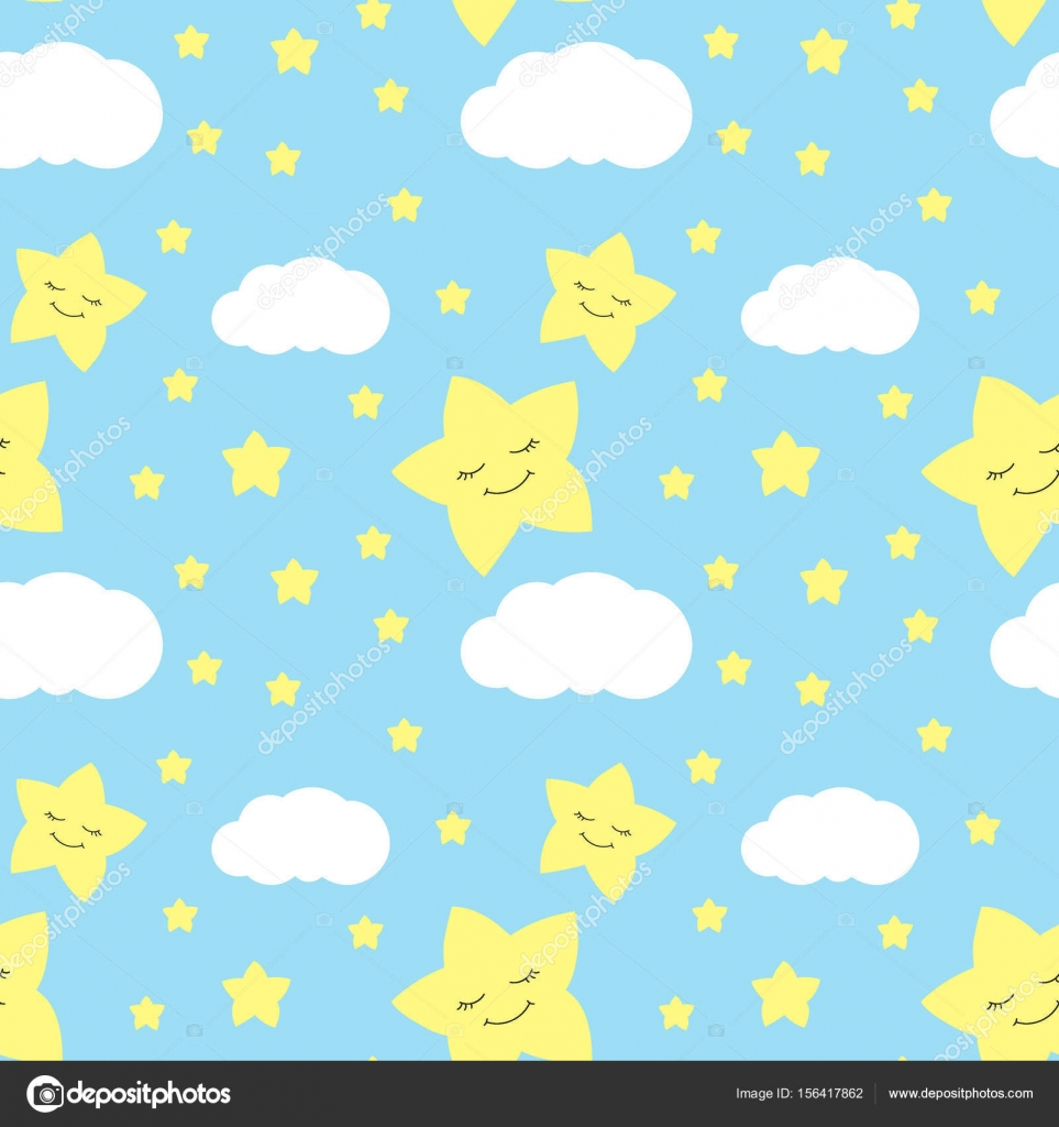 Cute Baby Star Pattern Vector Seamless Stock Vector Irinelle