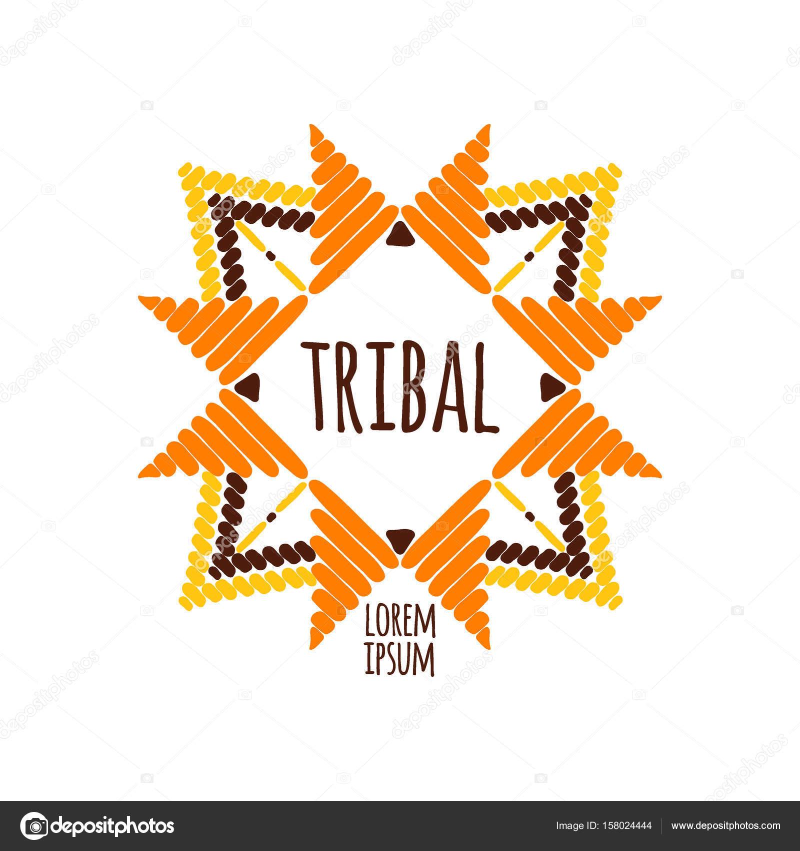 4ff394a333ba36 Unieke tribal logo sjabloon vector. Afrikaanse hand getrokken ontwerp voor  branding, badge, poster, kleding, sticker of afdrukken etiketten — Vector  van ...