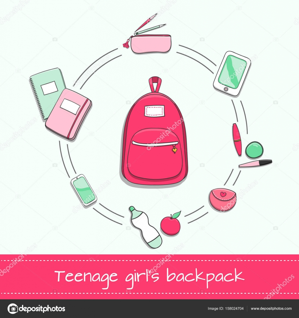 4c417b9bd6 Teenage girls backpack with school supplies notebooks