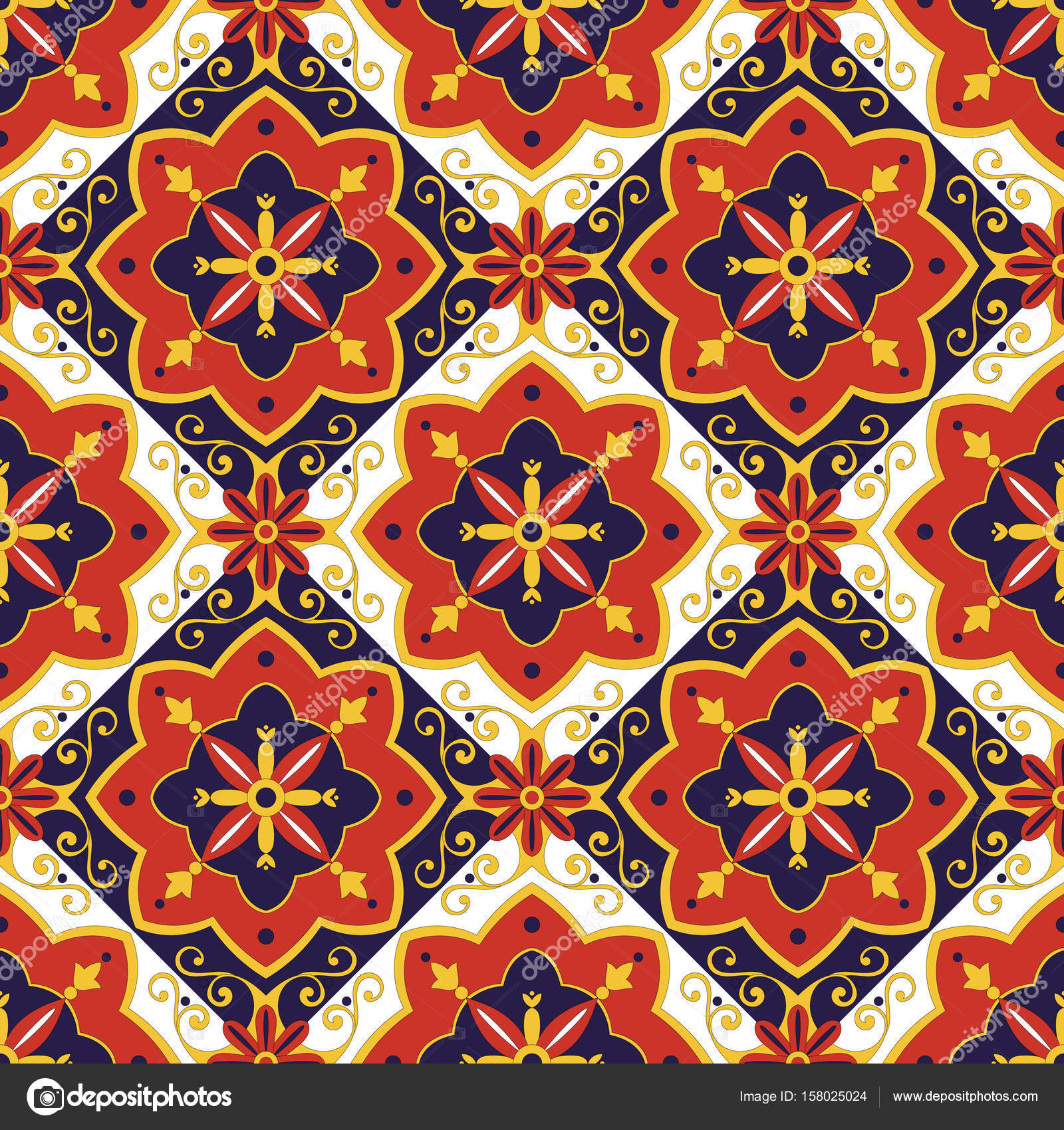 Italienische Fliesen Muster Vektor Mit Diagonalen Blauen Roten