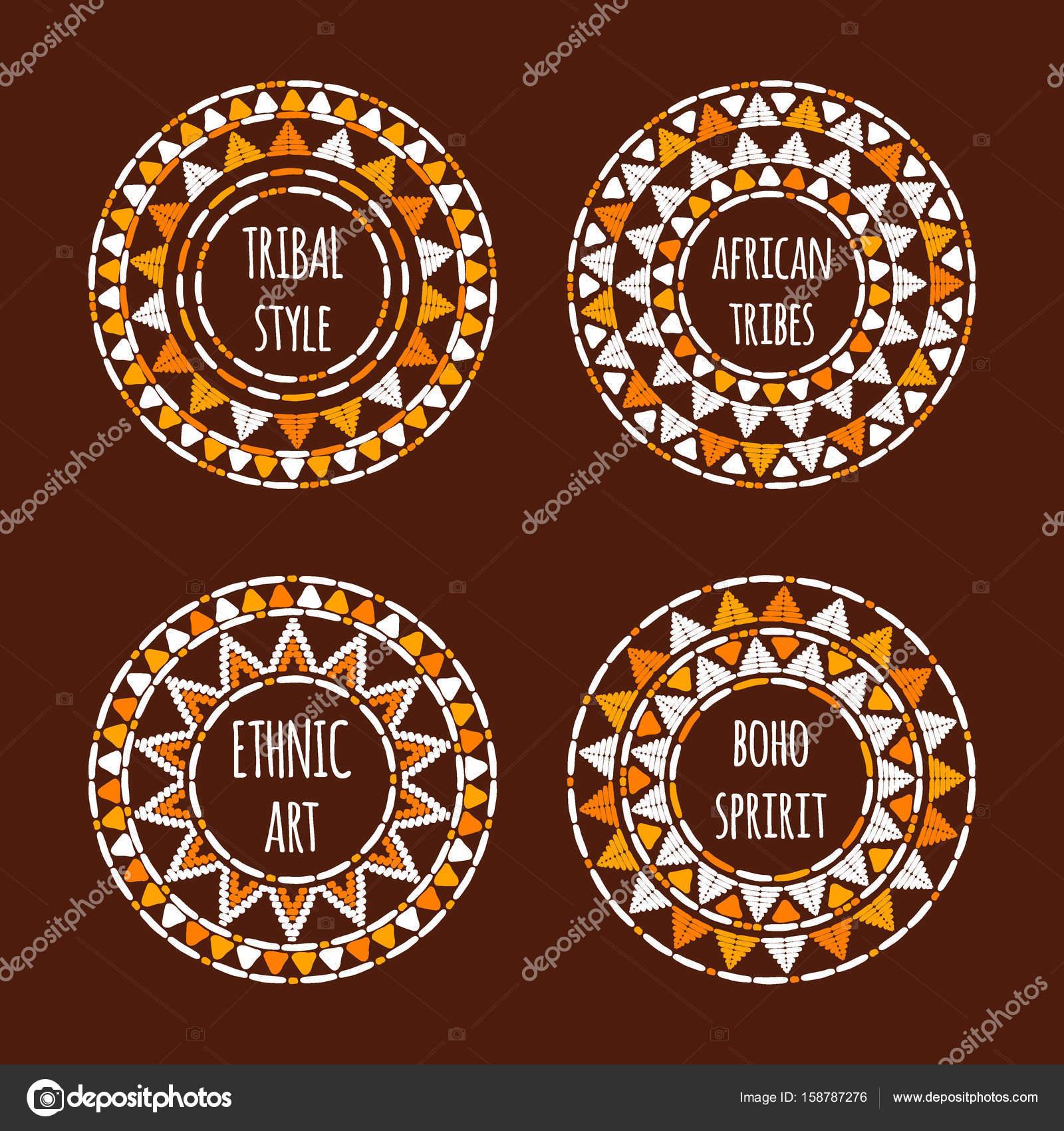 Einzigartiges Rundes Tribal Logo Vorlage Sammlung Vektor. Afrikanische  Handgezeichneten Entwurf Für Branding, Abzeichen, Plakat, Bekleidung  Drucken, ...