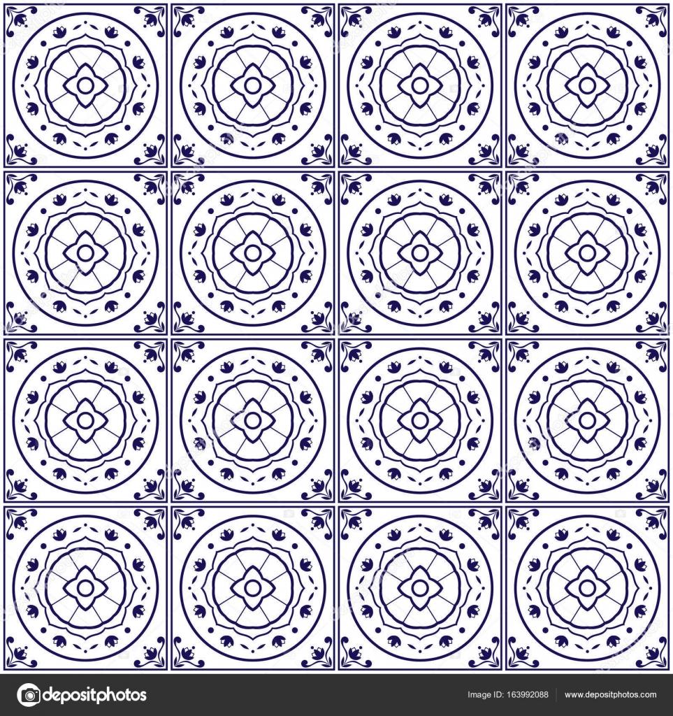 Delft Fliesen Muster Vektor Mit Blauen Und Weißen Blumen Ornamente.  Portugiesischen Azulejo, Spanische, Mexikanische Talavera Oder  Marokkanischen Motiven.
