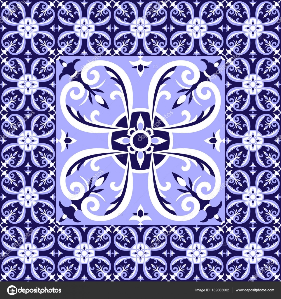 Spanish white blue tiles floor pattern vector stock vector spanish white blue tiles floor pattern vector with ceramic tiles big tile in center is framed in small background with portuguese azulejo dailygadgetfo Images
