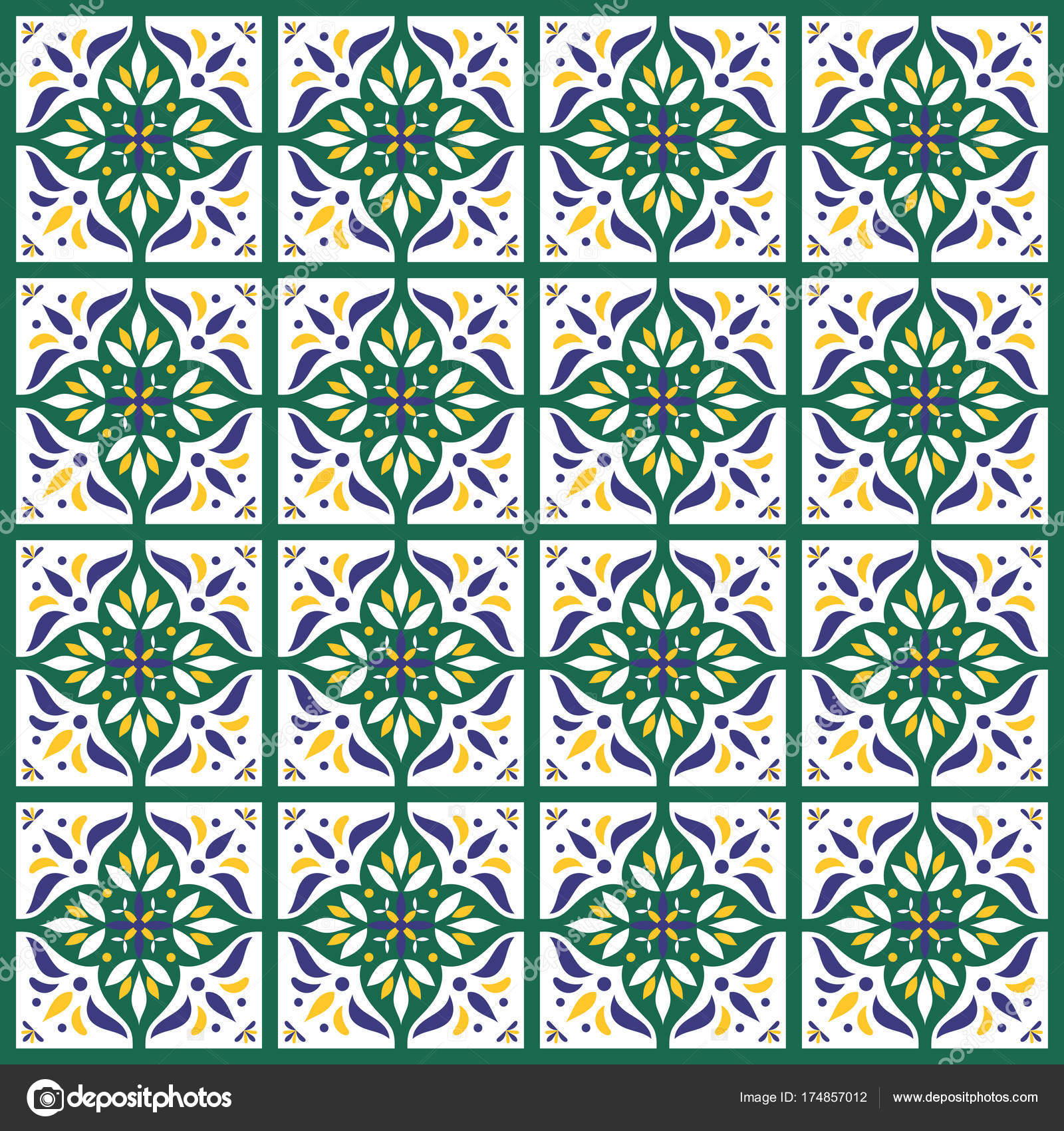 Tile pattern vector seamless in white, yellow, green — Stock Vector ...