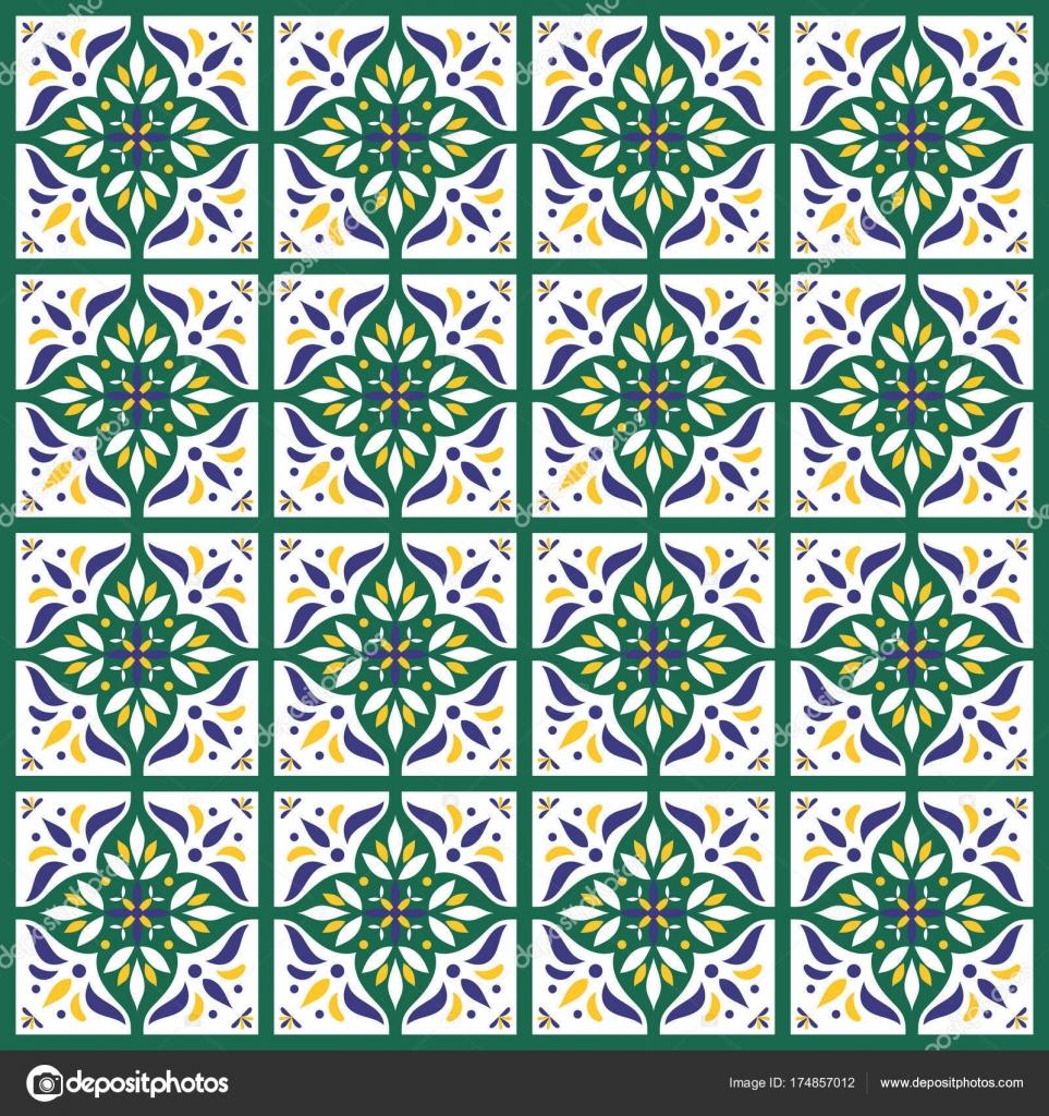 Fliesen Muster Vektor nahtlos in weiß, gelb, grün — Stockvektor ...