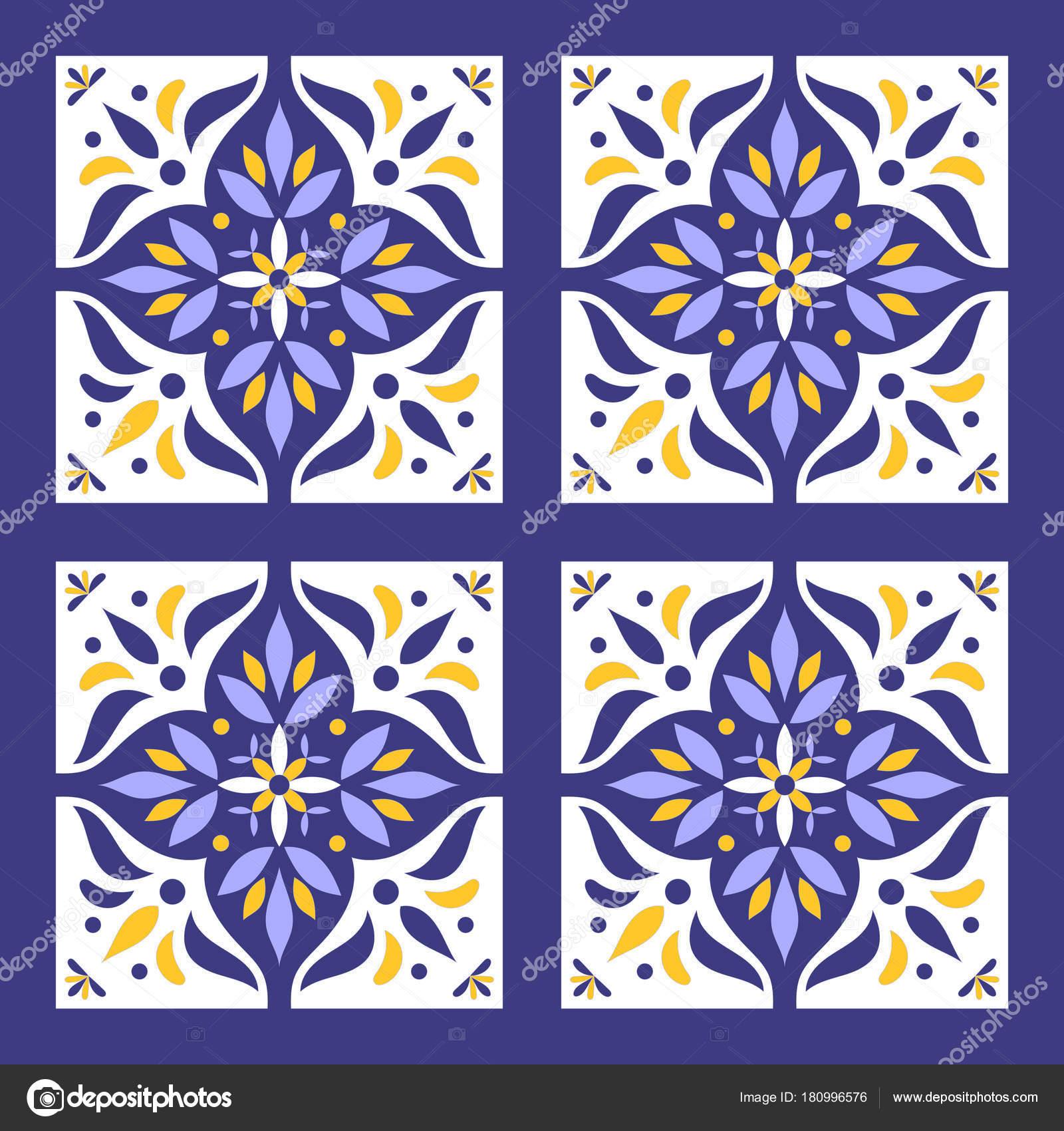 Portugiesische Fliesen Muster Vektor Mit Blauen Gelben Und Weißen - Tapete portugiesische fliesen
