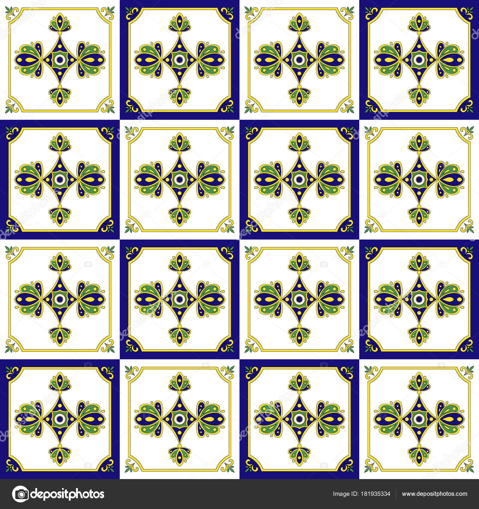 Traditional Mexican Tiles Pattern Stock Vector