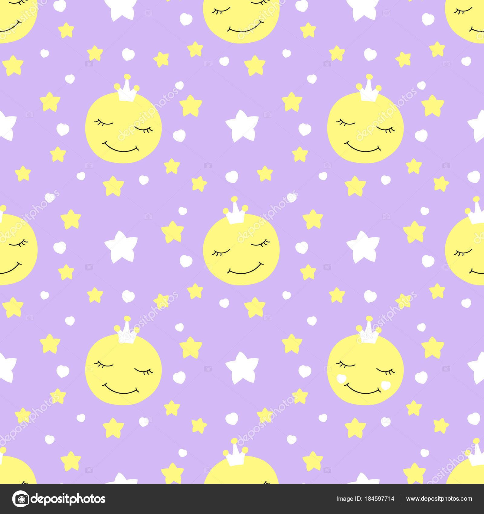 Niedliche Baby Mond Muster Vektor nahtlose — Stockvektor ...