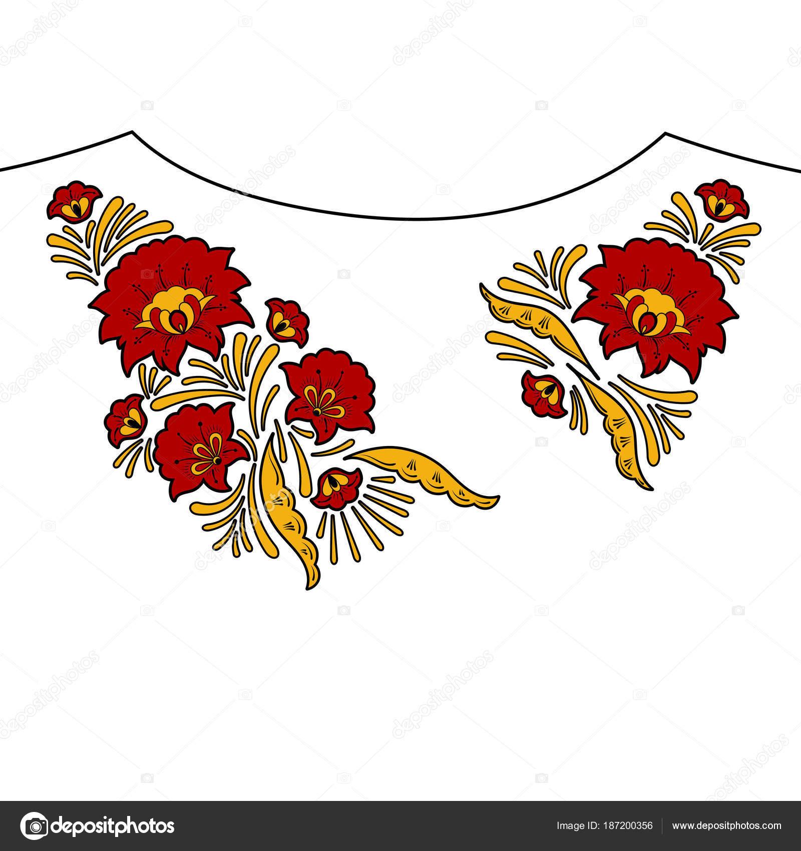 Vector de patrón de bordado de flor de cuello — Vector de stock ...