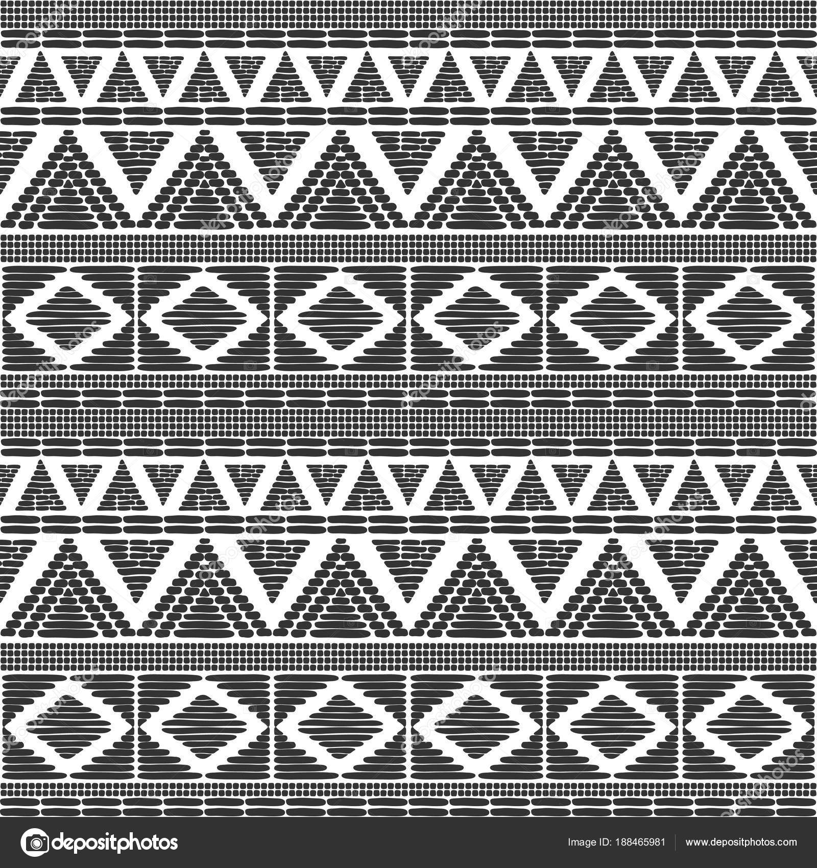 Tribal Pattern Vector In Black White Colors Print With African Tribe Border Motifs Ethic Texture Background For Fabric Wallpaper Wrapping Paper And