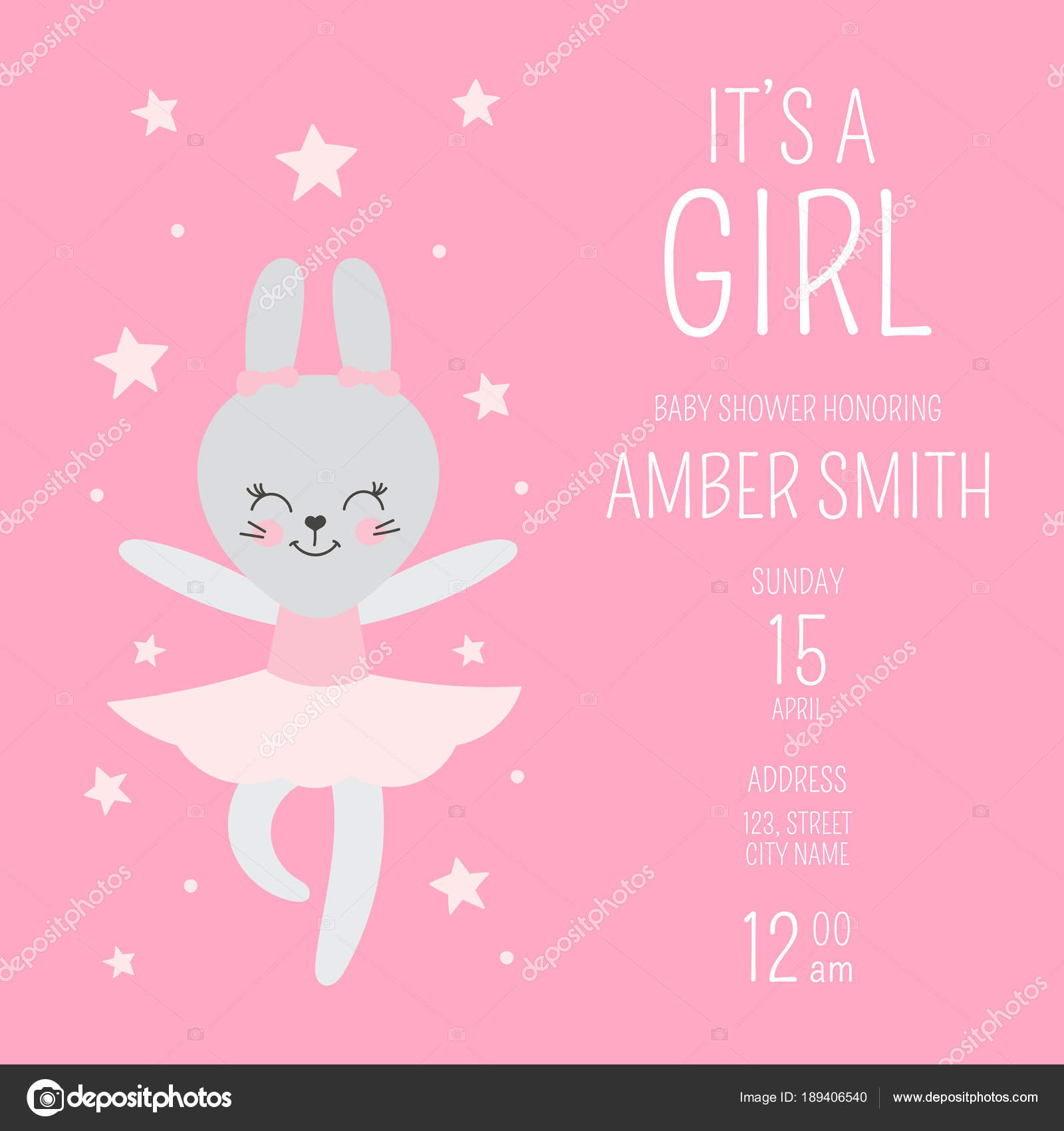 Cute baby shower girl invite card vector template Stock Vector