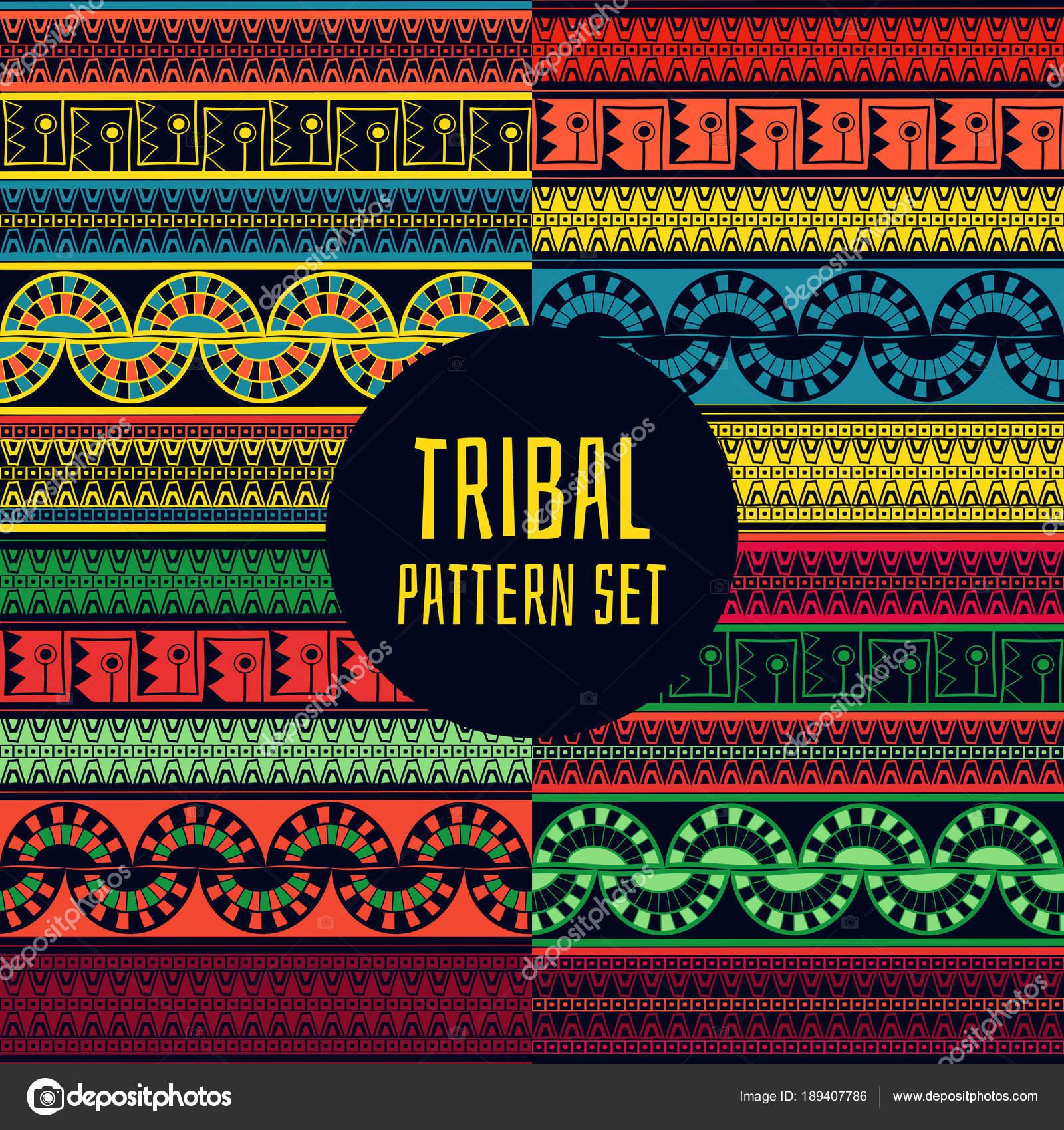 Set of tribal pattern vector seamless Native American Aztec