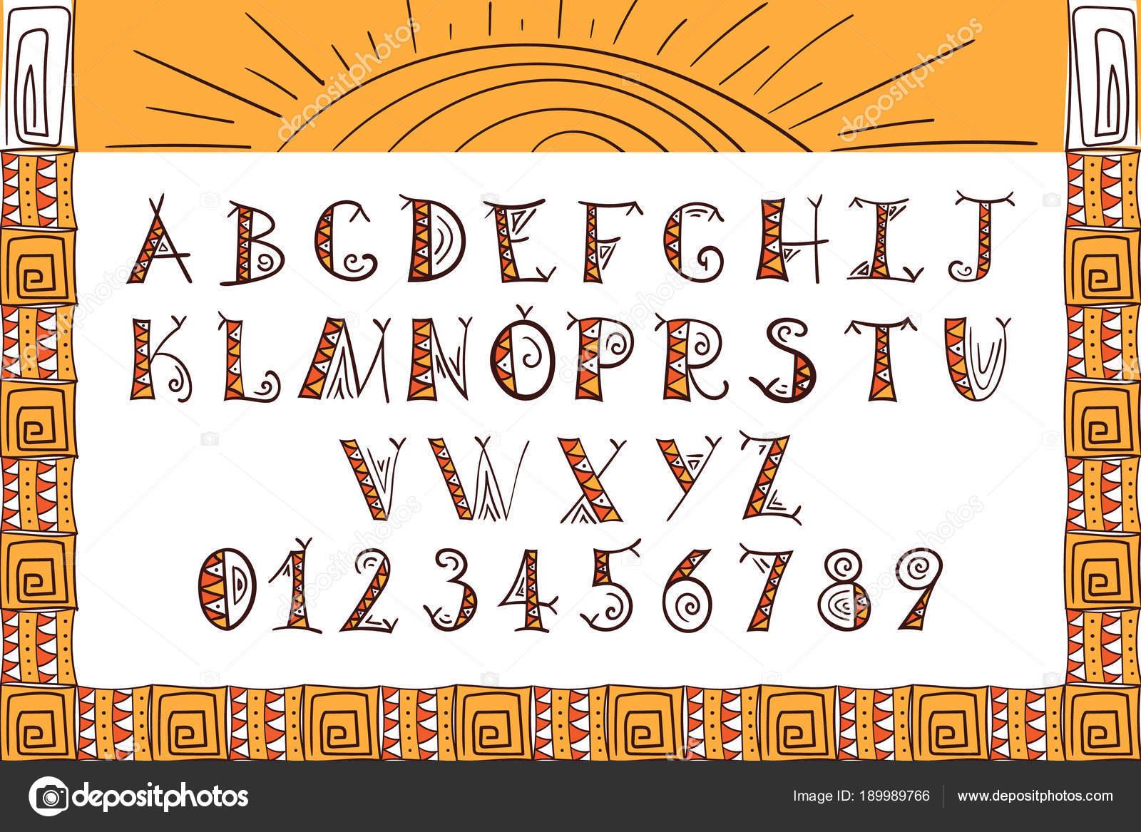 русский шрифт в стиле ацтеков