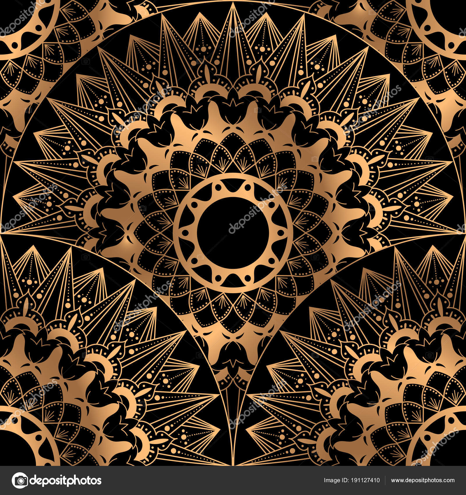 Gold Black Scale Pattern Seamless Design Indian Mandala Ornament For Wedding Party Invitation Spa Beauty Yoga Salon Wallpaper Bridal Fashion And