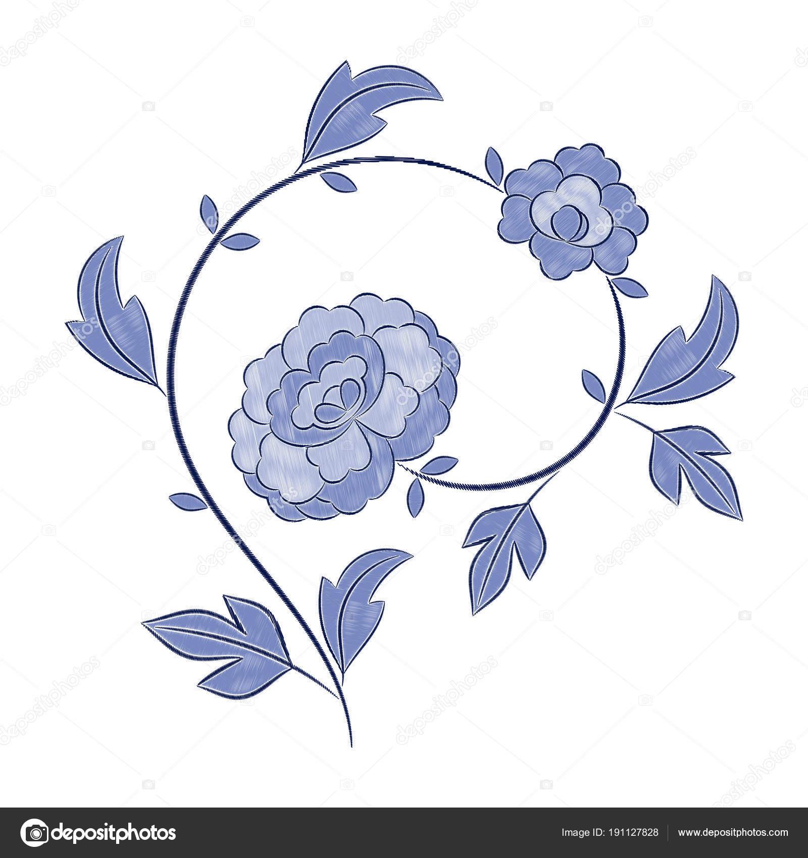 Vector patrón de bordado de flores vintage — Archivo Imágenes ...