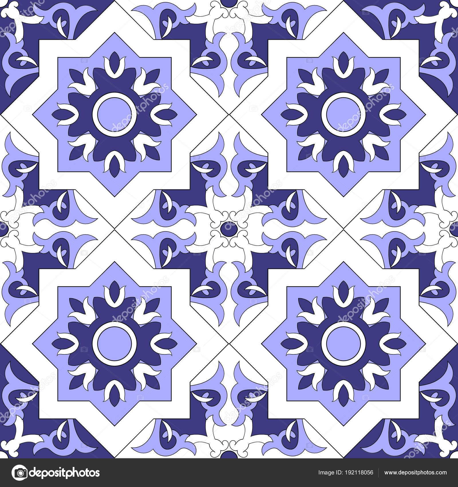 Carrelage Ornamental Mires Couleur Bleu Blanc Vectorielle