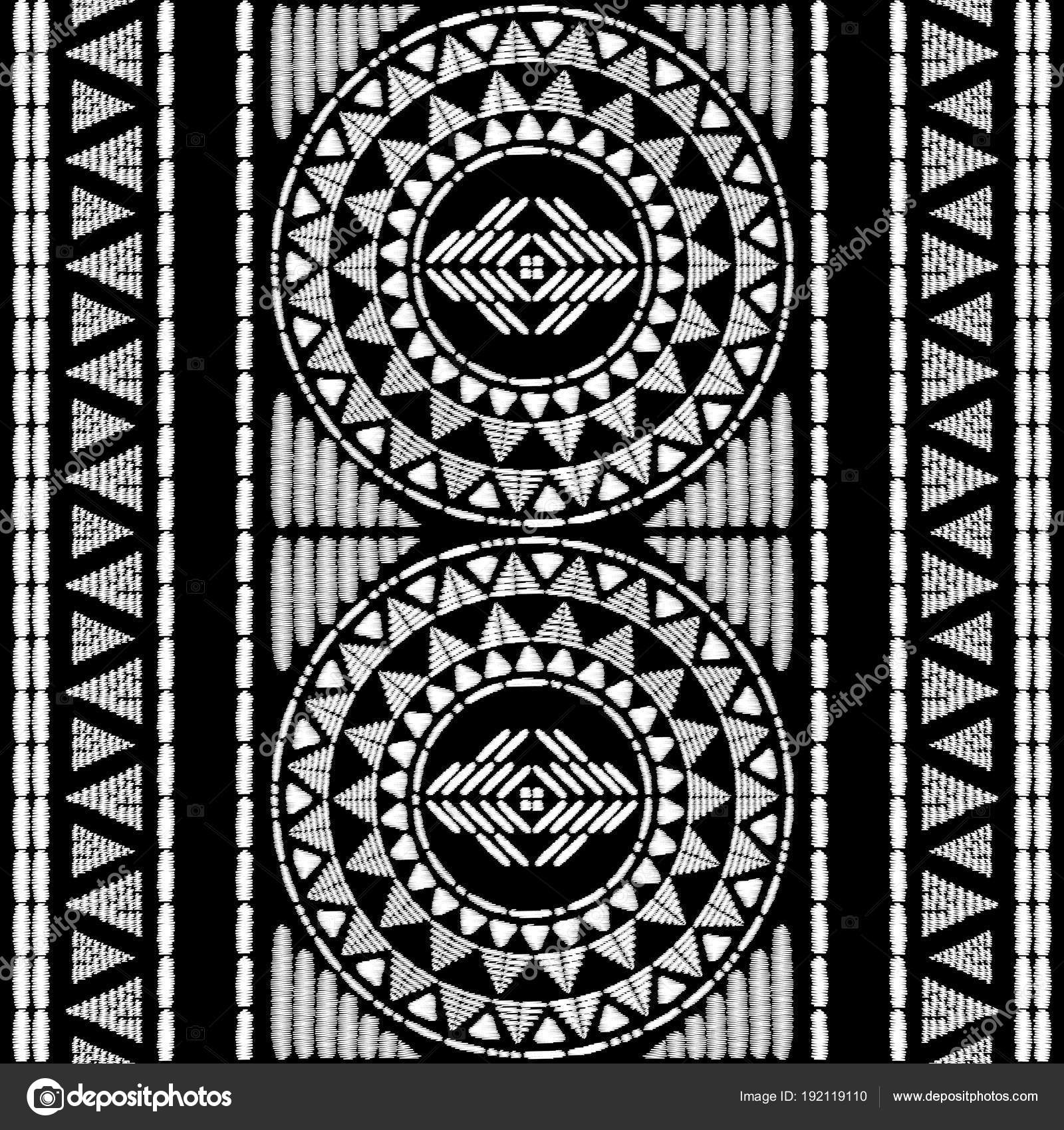 Aztec embroidery pattern design seamless vector. Abstract geometric ...