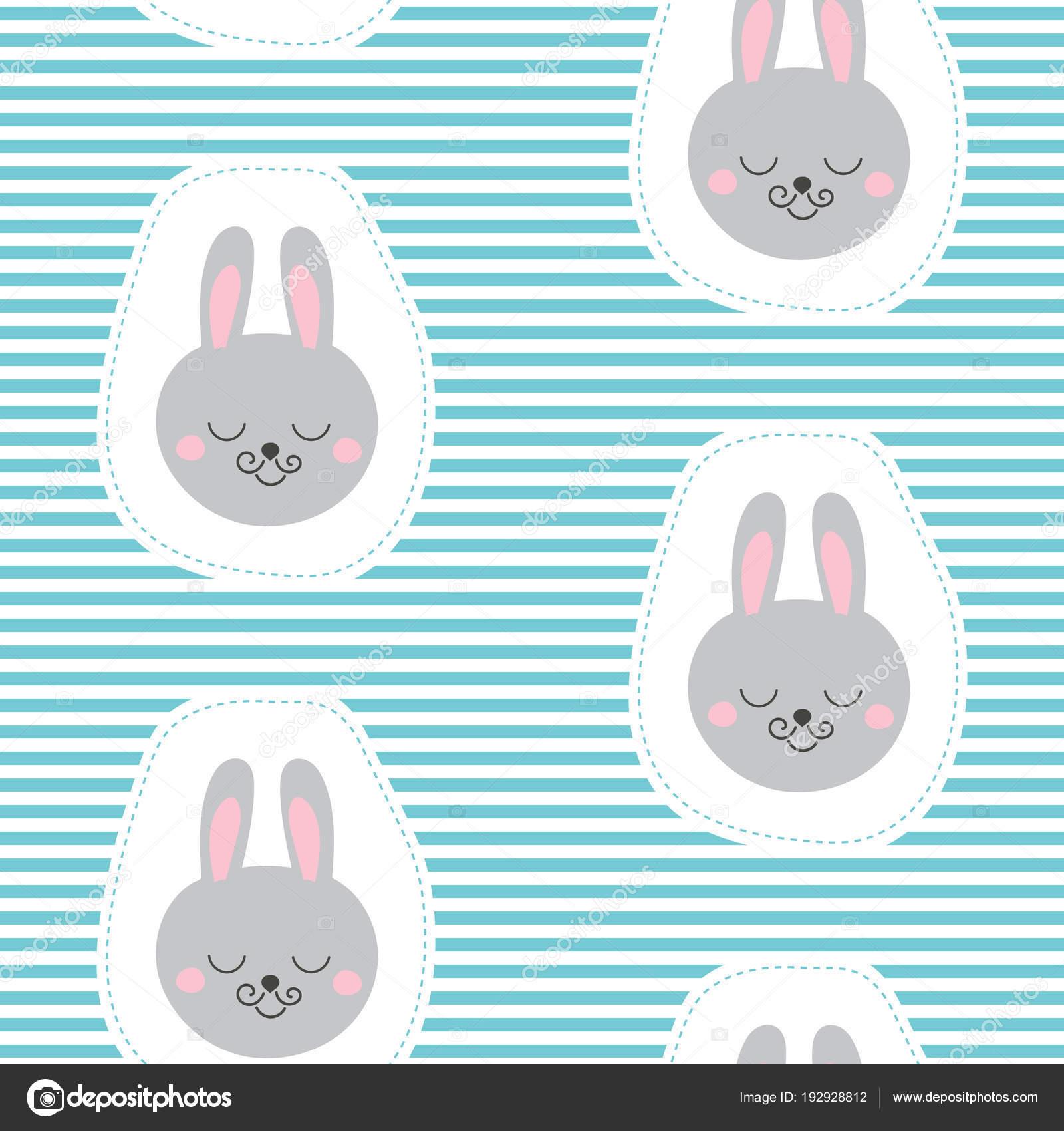 396fef57d Dibujos animados niño animales impresión vector transparente. Fondo niños  con divertido conejo cara parches para la ropa