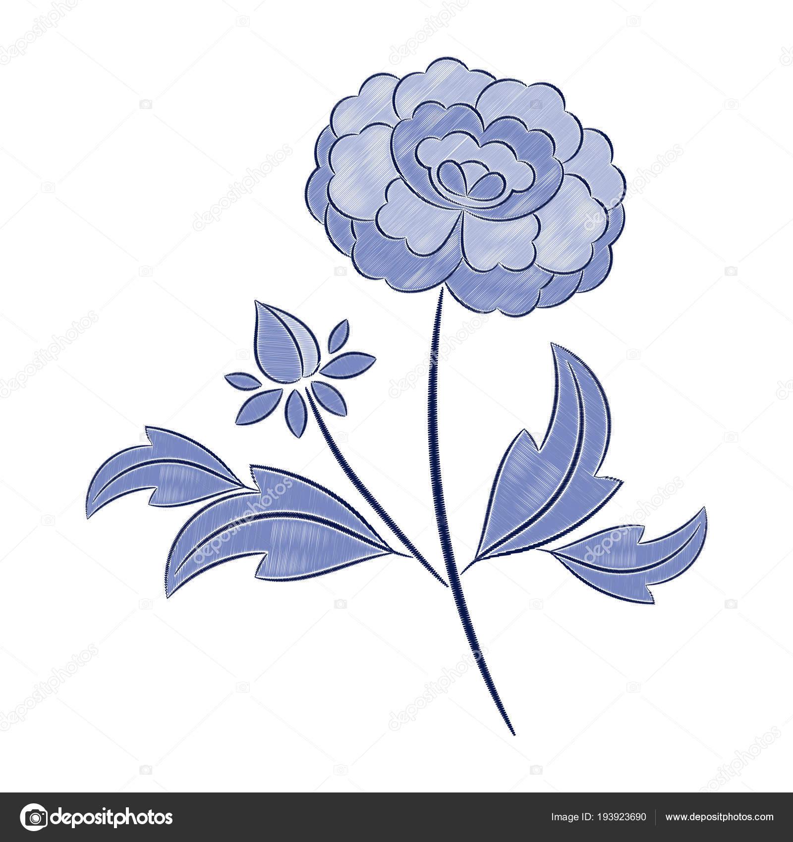 Vector patrón de bordado de flores vintage. Puntada de estampado de ...