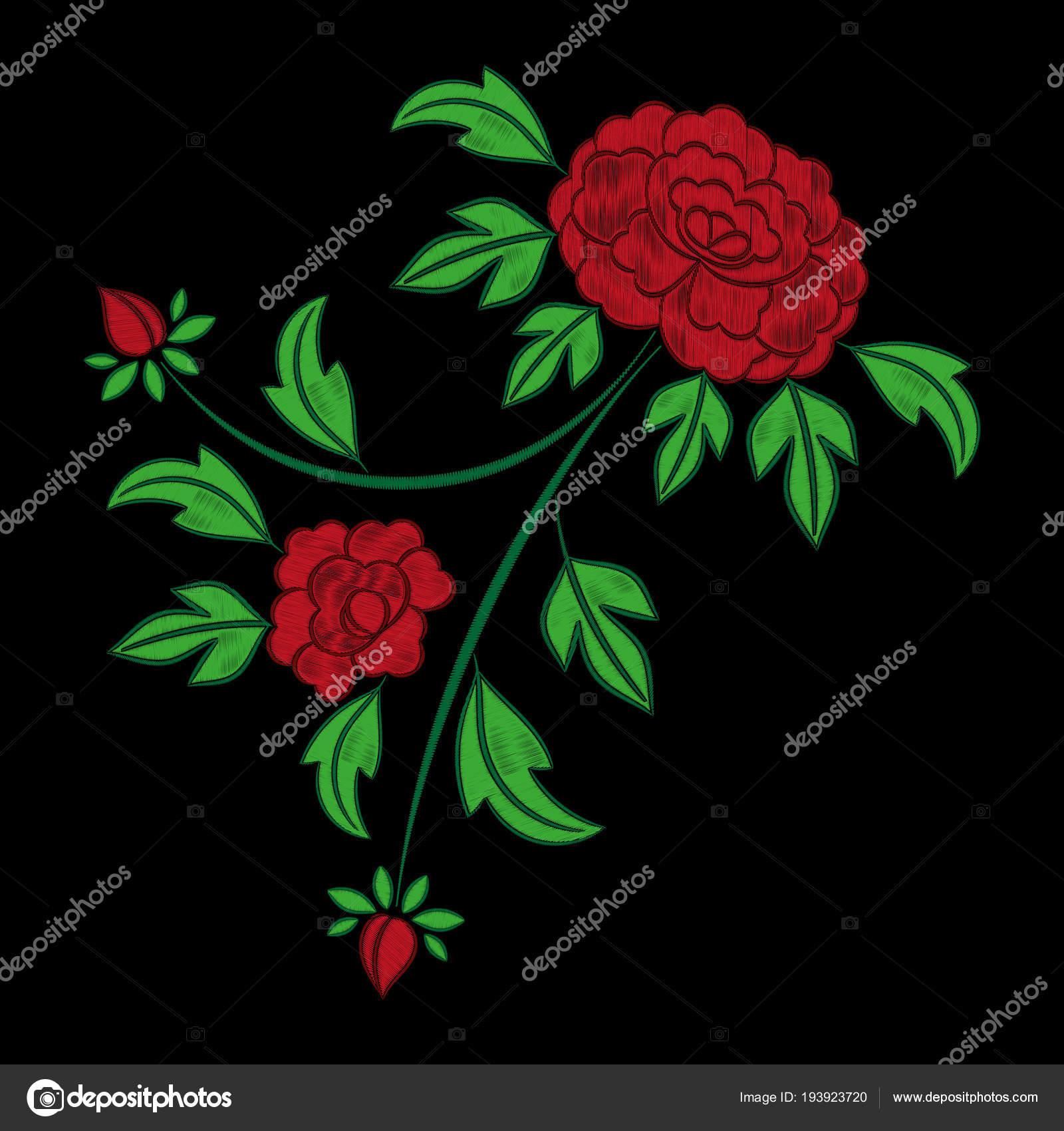 Vector patrón de bordado de flores vintage. Peonía Roja Mexicana ...