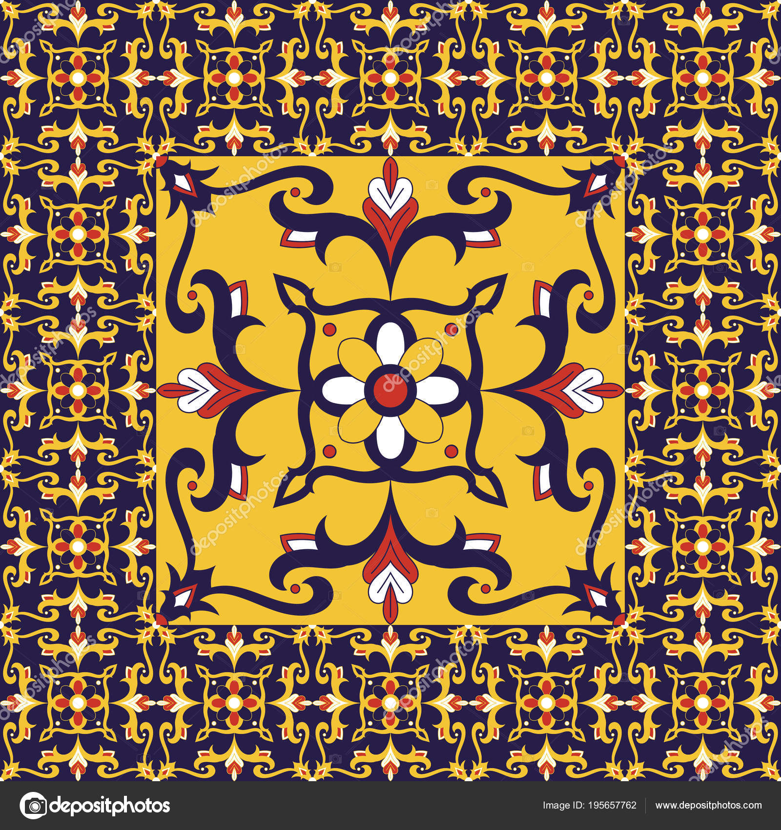 Piso de azulejos retro. Vector de patrón de flores con la impresión ...