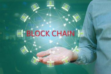 Blockchain network against double exposure concept. businessman