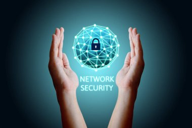 Cyber security network concept, Young asian man holding global n