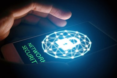 Cyber security network concept, Man protect network in smartphon