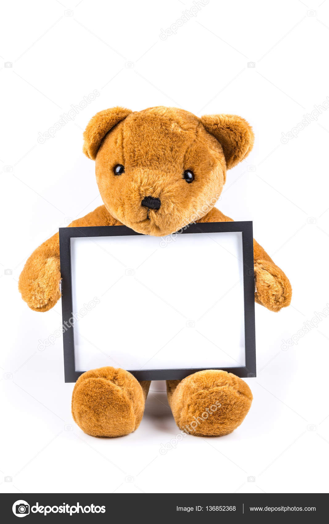 Brown fuzzy teddy bear holding a black frame — Stock Photo ...